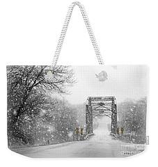 Snowy Day And One Lane Bridge Weekender Tote Bag by Kathy M Krause
