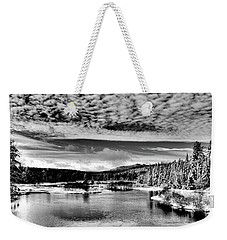 Snowy Day At The Green Bridge Weekender Tote Bag by David Patterson