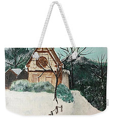 Weekender Tote Bag featuring the painting Snowy Daze by Denise Tomasura