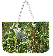 Snowy Egret Feeding Its Young - Digitalart Weekender Tote Bag