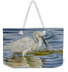 Snowy Egret Hunting Shrimp Weekender Tote Bag by Phyllis Beiser