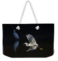 Snowy Egret In Flight In The Morning Light Weekender Tote Bag