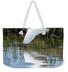 Snowy Egret In Flight Weekender Tote Bag