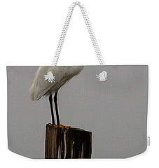 Snowy Egret In The Fog  Weekender Tote Bag