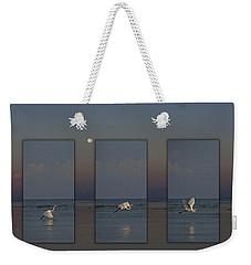 Snowy Egret Moon Weekender Tote Bag