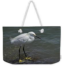 Snowy Egret On Rock Weekender Tote Bag