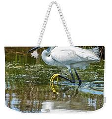 Snowy Egret Reflection Weekender Tote Bag