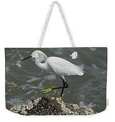 Snowy Egret Rock Walking Weekender Tote Bag