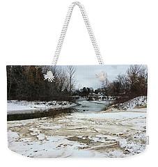 Snowy Elk Rapids River Weekender Tote Bag