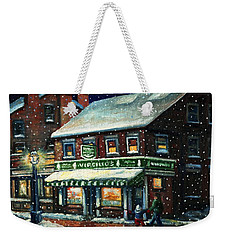 Snowy Evening In Gloucester, Ma Weekender Tote Bag