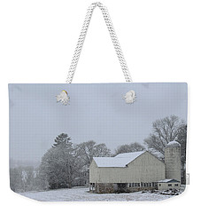 Weekender Tote Bag featuring the photograph Winter White Farm by Melinda Blackman