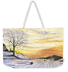 Weekender Tote Bag featuring the digital art Snowy Farm by Darren Cannell