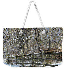 Weekender Tote Bag featuring the photograph Winter Fence by Melinda Blackman