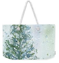 Weekender Tote Bag featuring the painting Snowy Fir Tree by Dawn Derman