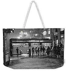 Snowy Harvard Square Night- Harvard T Station Black And White Weekender Tote Bag