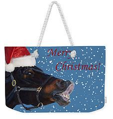 Snowy Horse Jumping Christmas Weekender Tote Bag