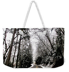 Weekender Tote Bag featuring the photograph Snowy Kapowsin Wa Road by Sadie Reneau