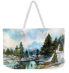 Snowy Lake Reflections Weekender Tote Bag