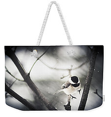 Weekender Tote Bag featuring the photograph Snowy Landing by Shane Holsclaw