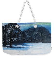 Snowy Moonlight Night Weekender Tote Bag