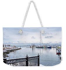 Snowy Morning Plymouth Harbor  Weekender Tote Bag