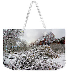 Snowy Mountains In Zion Weekender Tote Bag