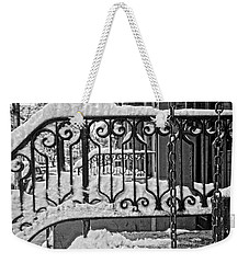 Weekender Tote Bag featuring the painting Snowy Nyc Steps by Joan Reese