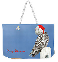 Weekender Tote Bag featuring the photograph Snowy Owl Christmas Card by Everet Regal