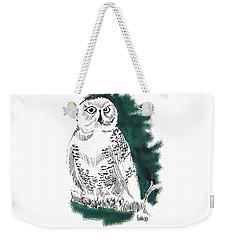 Weekender Tote Bag featuring the drawing Snowy Owl II by Seth Weaver