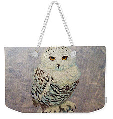 Weekender Tote Bag featuring the painting Snowy Owl by Janet McDonald