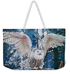 Snowy Owl On Takeoff  Weekender Tote Bag by Sharon Duguay