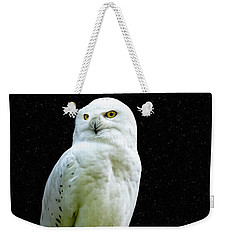 Weekender Tote Bag featuring the photograph Snowy Owl Under The Moon by Scott Carruthers