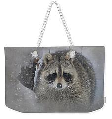Snowy Raccoon Weekender Tote Bag