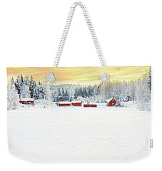 Snowy Ranch At Sunset Weekender Tote Bag