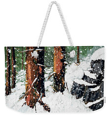 Snowy Redwood Dream Weekender Tote Bag
