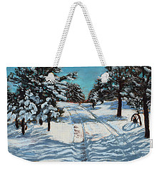 Snowy Road Home Weekender Tote Bag