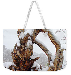 Weekender Tote Bag featuring the photograph Snowy Roots by Shane Bechler