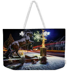 Weekender Tote Bag featuring the photograph Snowy Sisters by Cat Connor
