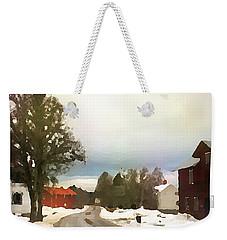 Snowy Street With Red House Weekender Tote Bag