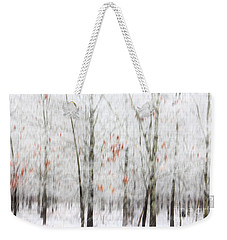 Weekender Tote Bag featuring the photograph Snowy Trees Abstract by Benanne Stiens