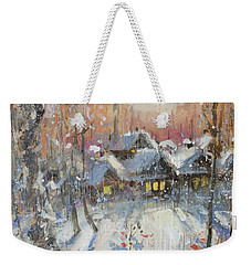 Snowy Village Weekender Tote Bag