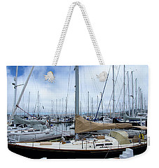 Weekender Tote Bag featuring the photograph So Many Sailboats by Laura DAddona