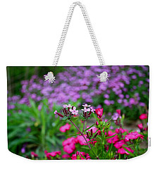 Weekender Tote Bag featuring the photograph Soapwort And Pinks by Kathryn Meyer