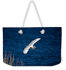 Soaring Snowy Egret  Weekender Tote Bag by DigiArt Diaries by Vicky B Fuller