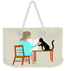 Socks Reads Sunday Paper Weekender Tote Bag