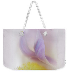 Weekender Tote Bag featuring the photograph Soft And Delicate Iris by David and Carol Kelly