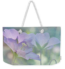Weekender Tote Bag featuring the photograph Soft Blue by Ann Lauwers