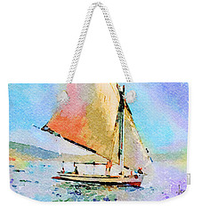 Weekender Tote Bag featuring the painting Soft Evening Sail by Angela Treat Lyon
