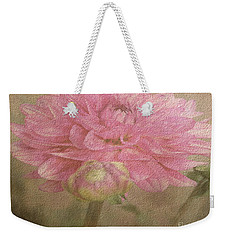 Soft Graceful Pink Painted Dahlia Weekender Tote Bag by Judy Palkimas