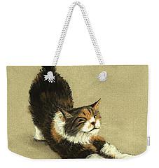 Weekender Tote Bag featuring the painting Soft Kitty by Anastasiya Malakhova